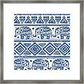 Blue Elephant With Ornaments Design Framed Print