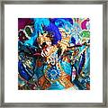Blue Feather Carnival Costume And Colorful Background Horizontal Framed Print