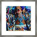 Blue Feather Carnival Costume Full Framed Print