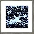 Blue Glow Starry Abstract Framed Print