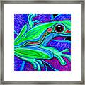 Blue Green Frog Framed Print