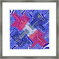Blue Red And White Janca Abstract Panel Framed Print