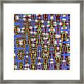 Blue Squares With Dots Framed Print