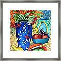 Blue Vase With Orange Flowers Framed Print