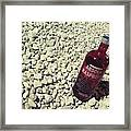 Bottle And The Beach  Framed Print