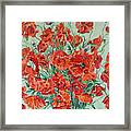 Bouquet Of Red Poppies With Soft-blue Background Framed Print