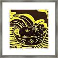 Bowl Of Fruit Black On Yellow Framed Print