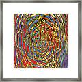Building Of Circles And Waves Colored Yellow Red And Blue Framed Print