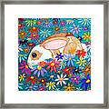 Bunny And Flowers Framed Print