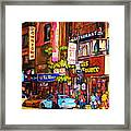 Busy Downtown Street Framed Print