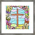 Butterflies And Cross Framed Print