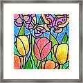 Butterflies In The Tulip Garden Framed Print