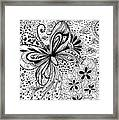 Butterfly And Flowers, Doodles Framed Print