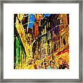 Cafe Of Amsterdam At Night  Framed Print