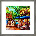 Cafe On Prince Arthur  In Montreal  Framed Print