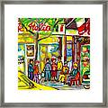 Caffe Italia And Milano Charcuterie Montreal Watercolor Streetscenes Little Italy Paintings Cspandau Framed Print