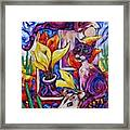 Calla Cacti Cat Izona Framed Print