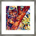 Cat In Tree Framed Print