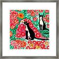 Cats And Roses Framed Print