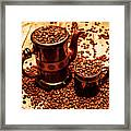 Ceramic Coffee Pot And Mug Overflowing With Beans Framed Print