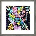 Cherish The Pitbull Framed Print by Dean Russo