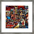 City At Night Downtown Montreal Framed Print