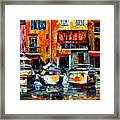 City Pier - Palette Knife Oil Painting On Canvas By Leonid Afremov Framed Print