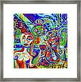 City At Night Music And Wine Abstract Framed Print