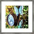 Clock And Butterflies R1 3580vt - Photo Art Framed Print