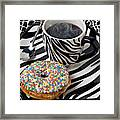Coffee And Donut On Striped Plate Framed Print