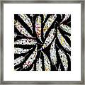 Colorful Black And White Leaves Framed Print