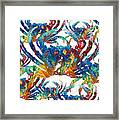 Colorful Crab Collage Art By Sharon Cummings Framed Print