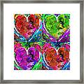 Colorful Pop Hearts Love Art By Sharon Cummings Framed Print