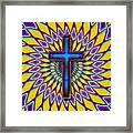 Colorful Retro Cross Framed Print