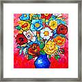 Colorful Roses And Camellias - Abstract Bouquet Of Flowers Framed Print