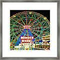 Coney Island's Wonderous Wonder Wheel In Neon Framed Print