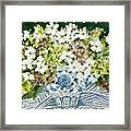 Cosmos And Hydrangeas In A Chinese Vase Framed Print
