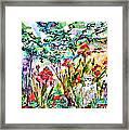 Cottage Garden Angel And Irises Framed Print