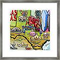 Dallas Texas Cartoon Map Framed Print