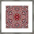 Digital Kaleidoscope Red-white 4 Framed Print