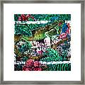 Dining At The Hibiscus Cafe - Iguana Framed Print