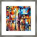 Downtown Lights - Palette Knife Oil Painting On Canvas By Leonid Afremov Framed Print