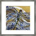 Dragonfly On Gold Scarf Framed Print