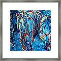 Equine Abstract Blue Four By M Baldwin Framed Print