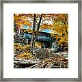 Fall Colors Over The Flume Gorge Covered Bridge Framed Print
