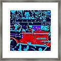 Fire Engine Red In Blue Framed Print