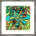 Flower Panel 1 Original Mixed Media Floral Lime Green Painting Framed Print