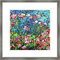 Flowering Shrub In Pink On Bright Blue 201676 Framed Print