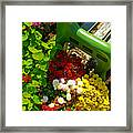 Flowers By Green Bench Framed Print