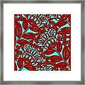 Flowers Indigo Red And Blue Framed Print